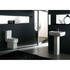 White ceramic basin with pedestal including pan, seat and cistern