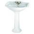 Oxford Large Basin 655mm White With Pedestal Curved Modern Bathroom Design