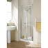 Reduced Height Lakes 700x1750 Semi-Framed Bi Fold Shower Door Silver. Stylish Bathroom