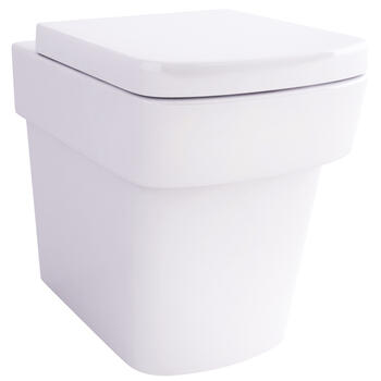 Bloque Wall Hung Curved Contemporary Bathroom WC with Fixings and Soft Close Toilet Seat