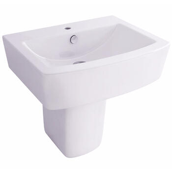 Essence/ Urban 56cm Bathroom White Wash Basin with One Tap Hole And Semi Pedestal