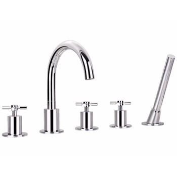 CHROME  5 Hole Shower Mixer Taps