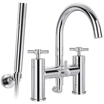 CHROME spout Bath Shower Mixer Taps cross head Handle
