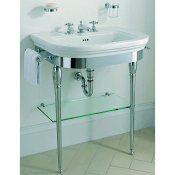 Carlyon Large Vanity Basin 715mm And Basin Stand With Glass Shelf And Chrome Legs Modern
