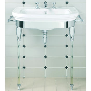 Carlyon Large Vanity Basin 715mm And Basin StAnd With Glass Legs polished Nickel Finish High Quality