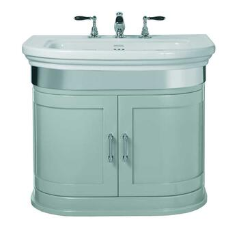 Carlyon Large Basin 715mm With Thurlestone Wall Hung Vanity Unit Grey Ecru curved Wall Hung Contemporary Bathroom