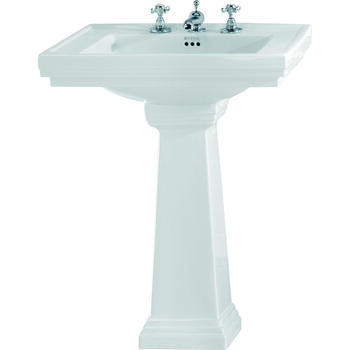 Astoria Deco Large Basin 640mm White And Tall Large Pedestal White - 14853