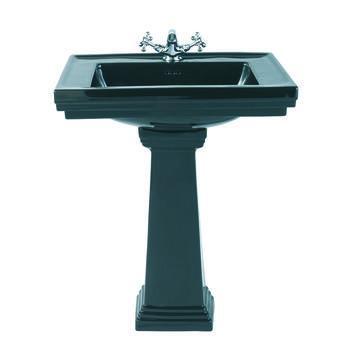 Astoria Deco Large Basin 640mm Black And Tall Large Pedestal Black straight Ellegant