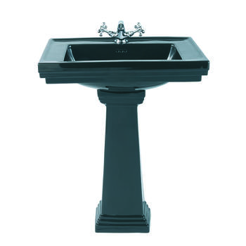 Astoria Deco Small Basin 520mm Black With Small Pedestal Black - 14857