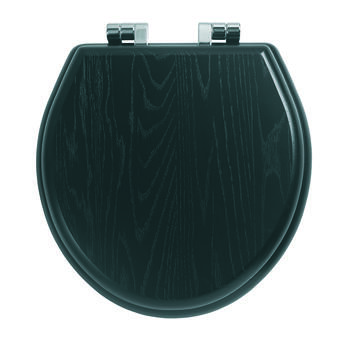 Windsor Solid Wood Toilet Seat Chrome With Soft Hinge - 14863