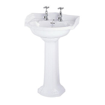 Oxford Cloak Curved Contemporary Design Wash Basin 535mm White With Pedestal