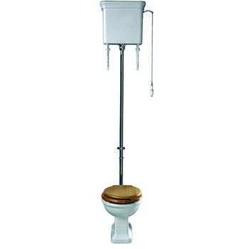 Etoile High Level White Pan and Cistern with 236mm Ceramic Connector and Seat - 15019