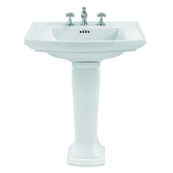 Radcliffe Large Basin 685mm White With Pedestal Straight Elegant Bathroom Washbasin