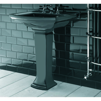 Radcliffe Large Basin 685mm Black With Pedestal Straight Stylish Bathroom Washbasin Design