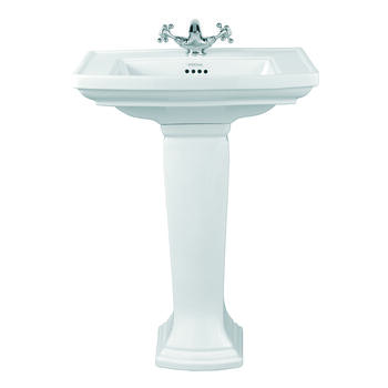 Radcliffe Medium Basin 600mm White With Pedestal White straight High Quality