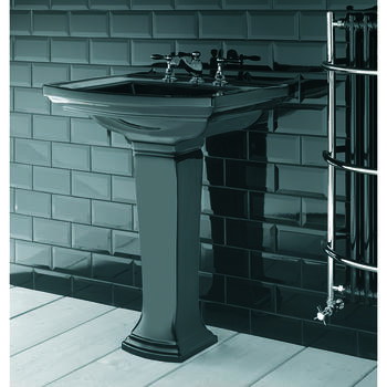 Radcliffe Traditional Ceramic Medium Basin 600mm Black With Pedestal