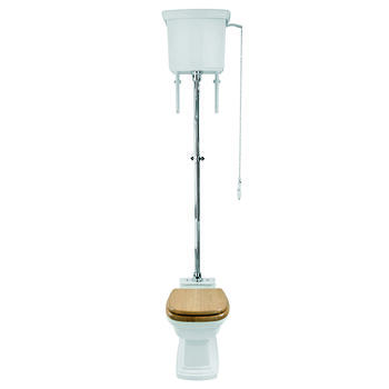 Radcliffe High Level Cistern White with Pan and Seat in Ceramic Conector - 15069