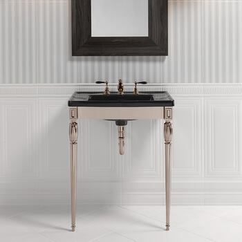 Troon Radcliffe Basin StAnd polished Nickel With Radcliffe Vanity Basin rectangle  Contemporary