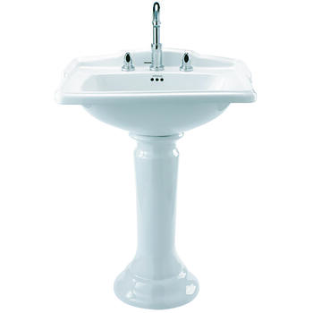 Drift Square Basin White 625mm With Pedestal White - 15133