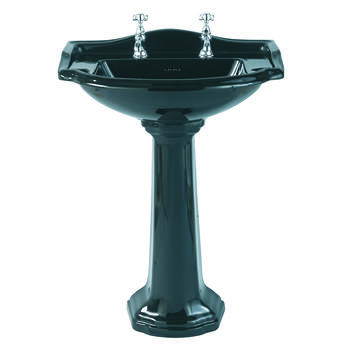 Drift Large Basin 660mm Black With Pedestal Crved High Quality Bathroom Washbasin