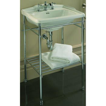 Drift Square Basin 625mm White With Drift Square Basin StAnd Chrome rectangle  Ellegant