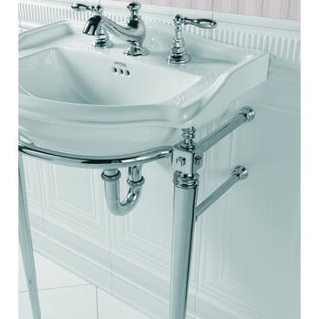 Drift Small Basin 540mm White With Drift Cloak Basin StAnd With Towel Rail Chrome rectangle