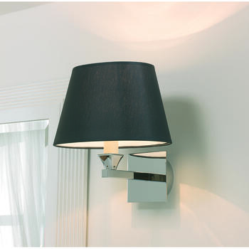 Astoria Wall Lamp With Oval Plain Black Percaline Shade - 15273