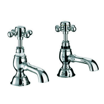 deluxe CHROME standard Twin Basin Taps (Pairs of taps) With a cross head Handle