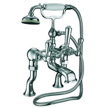 deluxe CHROME standard bath taps with shower head cross head Handle