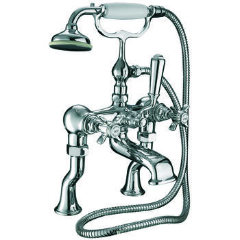 quality Traditional CHROME standard bath taps with shower head cross head Handle