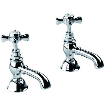 Traditional desirable CHROME standard Twin Basin Taps (Pairs of taps) With a cross head Handle