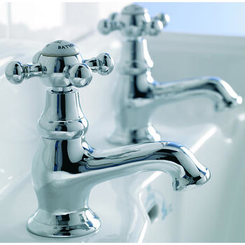 Traditional Edwardian CHROME standard Twin Basin Taps (Pairs of taps) With a cross head Handle