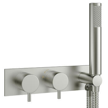 Brushed Steel Mike Pro Thermostatic Shower Valve rectangle