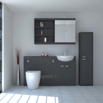 Hacienda 1500 Bathroom Fitted Furniture Pack Grey Ellegant