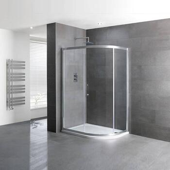 Volente Single Door offset Quad Silver Shower Enclosure - 16954