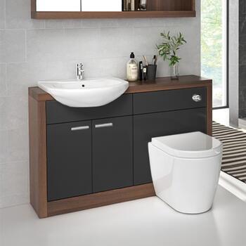 Lucido 1200 Vanity Unit Grey Curved Designer Bathroom And Cloakroom