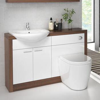 Lucido 1200 Vanity Unit White curved Unique Design and Stylish Bathroom Accessory
