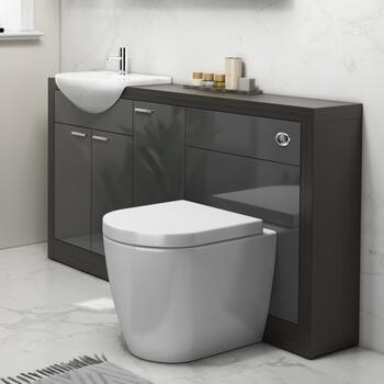 Hacienda 1500 Vanity Unit Grey curved Amazing Value Bathroom and Cloakroom