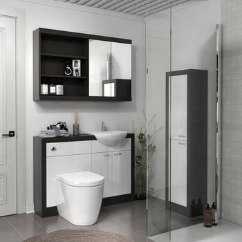 Hacienda 1200 Vanity Unit White curved Luxurious Bathroom and Cloakroom