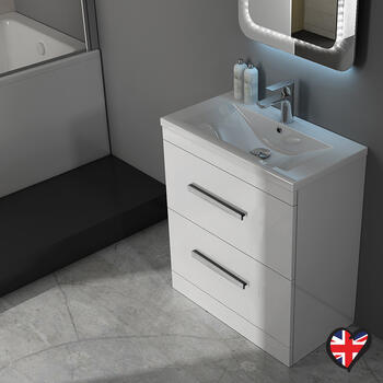 Patello 60 White Vanity Unit And Basin 2 Draws curved Ellegant and Stylish Bathroom Accessory