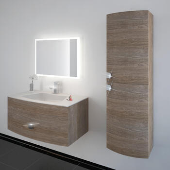 Shades 900 Wall Hung Vanity Butternut unit 50mm and Glass Basin - 174574