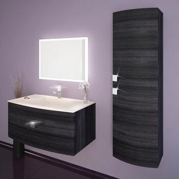 Shades Curved 900 Wall Hung Vanity Unit Hacienda Grey And Glass Basin - 174575