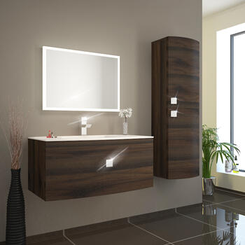 bc Curved 900 Vanity Unit Wall Hung Brown And Glass Basin white - 174576
