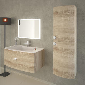 Shades Curved Snoma Oak 900mm Vanity unit 50mm Carcass And White Glass Basin - 174577