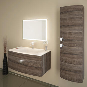 Shades Curve  Wall hung Vanity unit 900mm Truffle And Glass White Basin - 174578