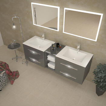 Sonix 1500 Wall hung Double Basin Vanity Unit Grey - 174693