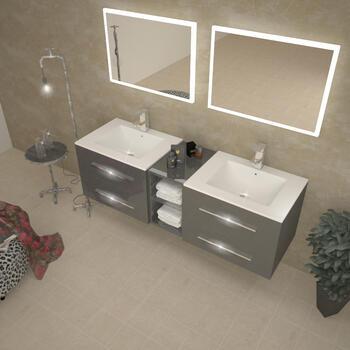Sonix 1500 Wall hung Double Basin Vanity Unit Grey - 174693