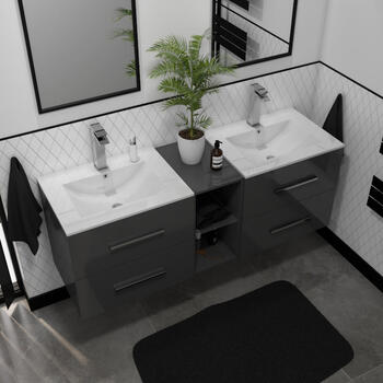 Sonix 1500 Wall hung Double Basin Vanity Unit Grey curved Wall Hung Amazing Value and Stylish Bathroom Accessory