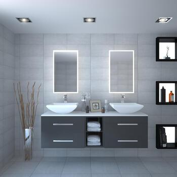 Sonix 1500 Glass Top Wall hung Vanity storage Unit inc basins and taps - 174706