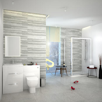 PATELLO WHITE COMBI VANITY TOILET AND SHOWER SLIDING DOOR ENCLOSURE SUITE - 174721